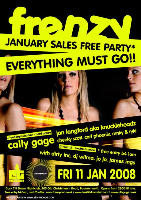 Frenzy's Cally Gage Poster from Dusk Till Dawn nightclub