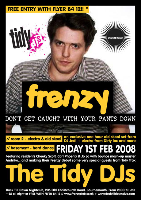 Frenzy's Tidy DJs Poster from Dusk Till Dawn nightclub