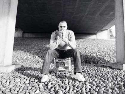 Jon Langford hiding underneath Bournemouth's Wessex Way