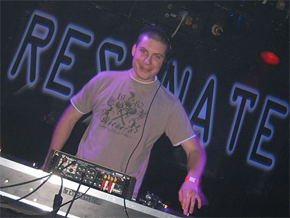 Behind the decks playing hard trance at Resonate